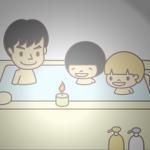 お風呂場でキャンドル