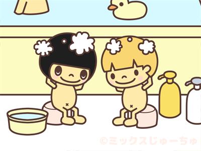 シャンプー頭を洗う子ども
