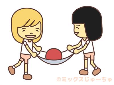 2人でタオルボール運びリレー画像
