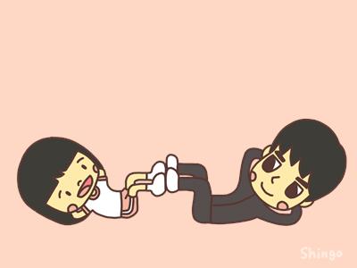 足の裏をくっつける親子のイラスト