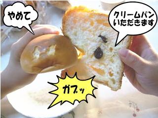 パンをかじる