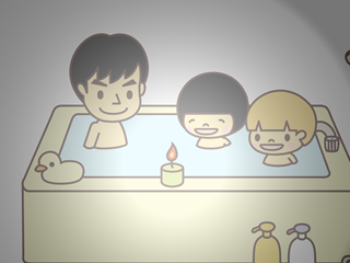 お風呂でキャンドル