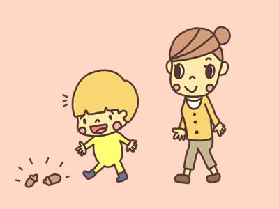 散歩する親子のイラスト