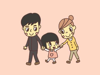 親子で手をつないで歩く親子のイラスト