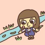 水路に葉っぱを流す