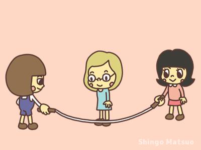 縄跳びを遊ぶ準備をする子どものイラスト
