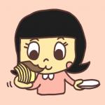バームクーヘンを一枚ずつ剥いで食べる