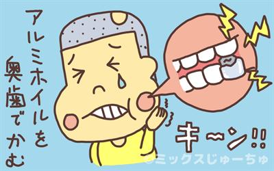 奥歯でアルミホイルを噛む