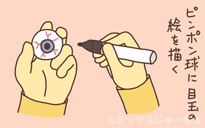 ピンポン玉に目玉を描くイラスト