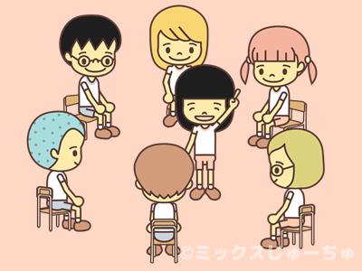 椅子に座る子どものイラスト