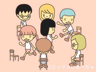 椅子から立ち上がる子どものイラスト