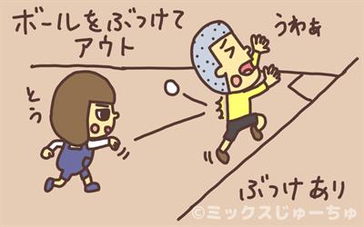ボールをぶつけてアウト
