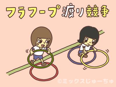 フラフープ渡り競争