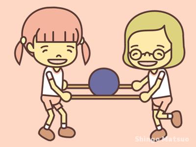 棒を二本持ってボール運びリレーのイラスト