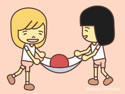 2人でタオルボール運ぶ子どものイラスト