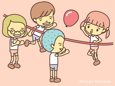 風船バレーを遊ぶ子どものイラスト