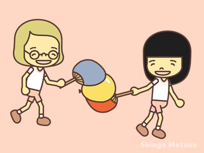 うちわを使って風船を運ぶ子どものイラスト