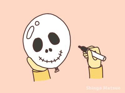 風船に骸骨の絵を描く