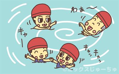 流れるプールで遊ぶ子ども