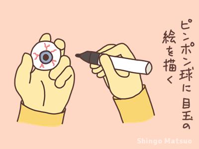 ピンポン玉に目玉を描いてるイラスト