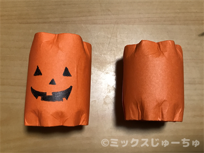 トイレットペーパーの芯で作ったジャックランタン