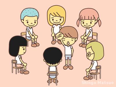 鬼を中心に輪になって椅子に座る子どものイラスト