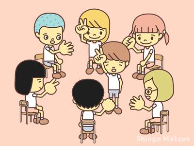 じゃんけんをする子どものイラスト