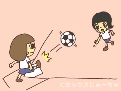 ボールを足で蹴る