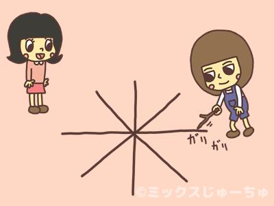 地面に線を描く子どものイラスト
