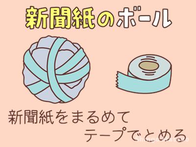 新聞紙のボールを作るイラスト