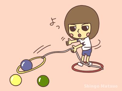 フラフープを横投る子どものイラスト