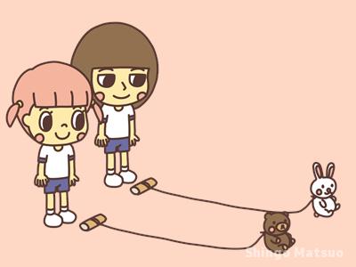 ゲームが始まるのを待つ子どものイラスト